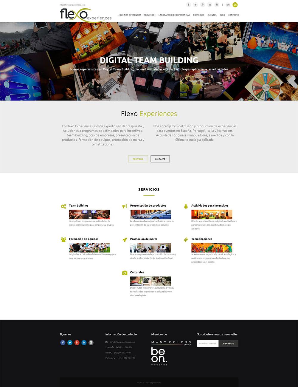 Diseño de página web: Flexo Experiences