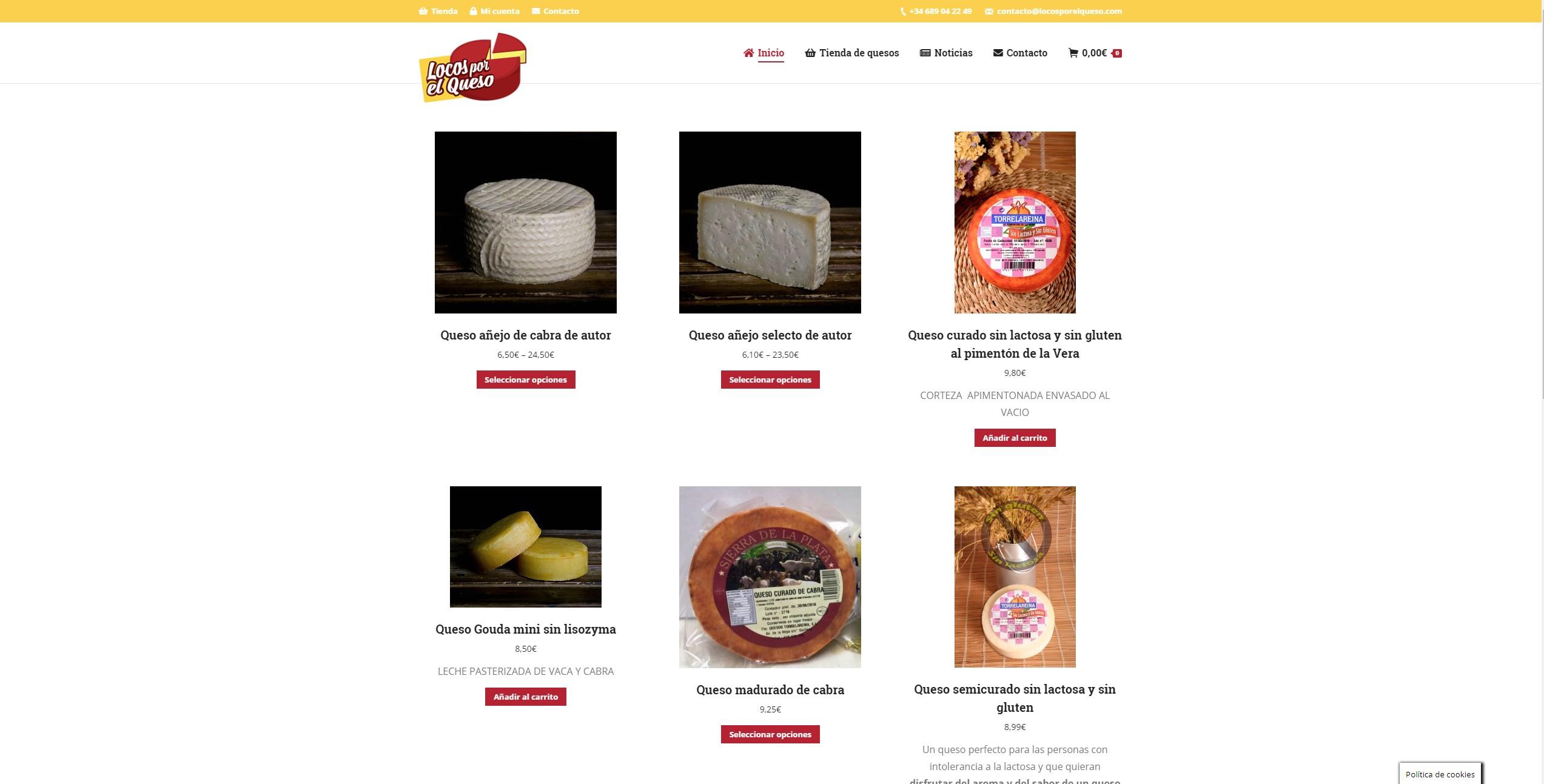 Diseño de tienda online: Locos por el queso