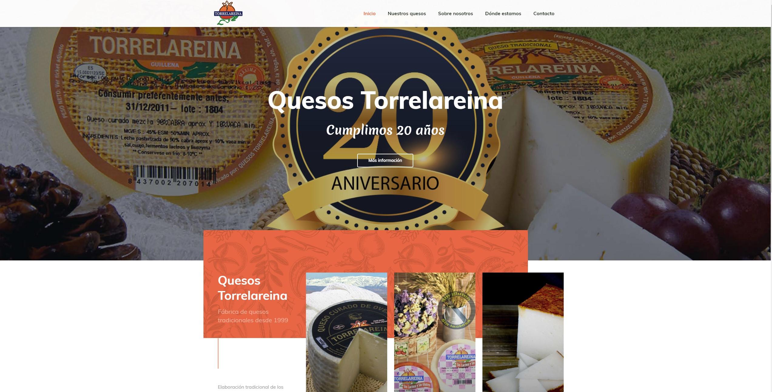 Diseño de página web: Quesos Torrelareina