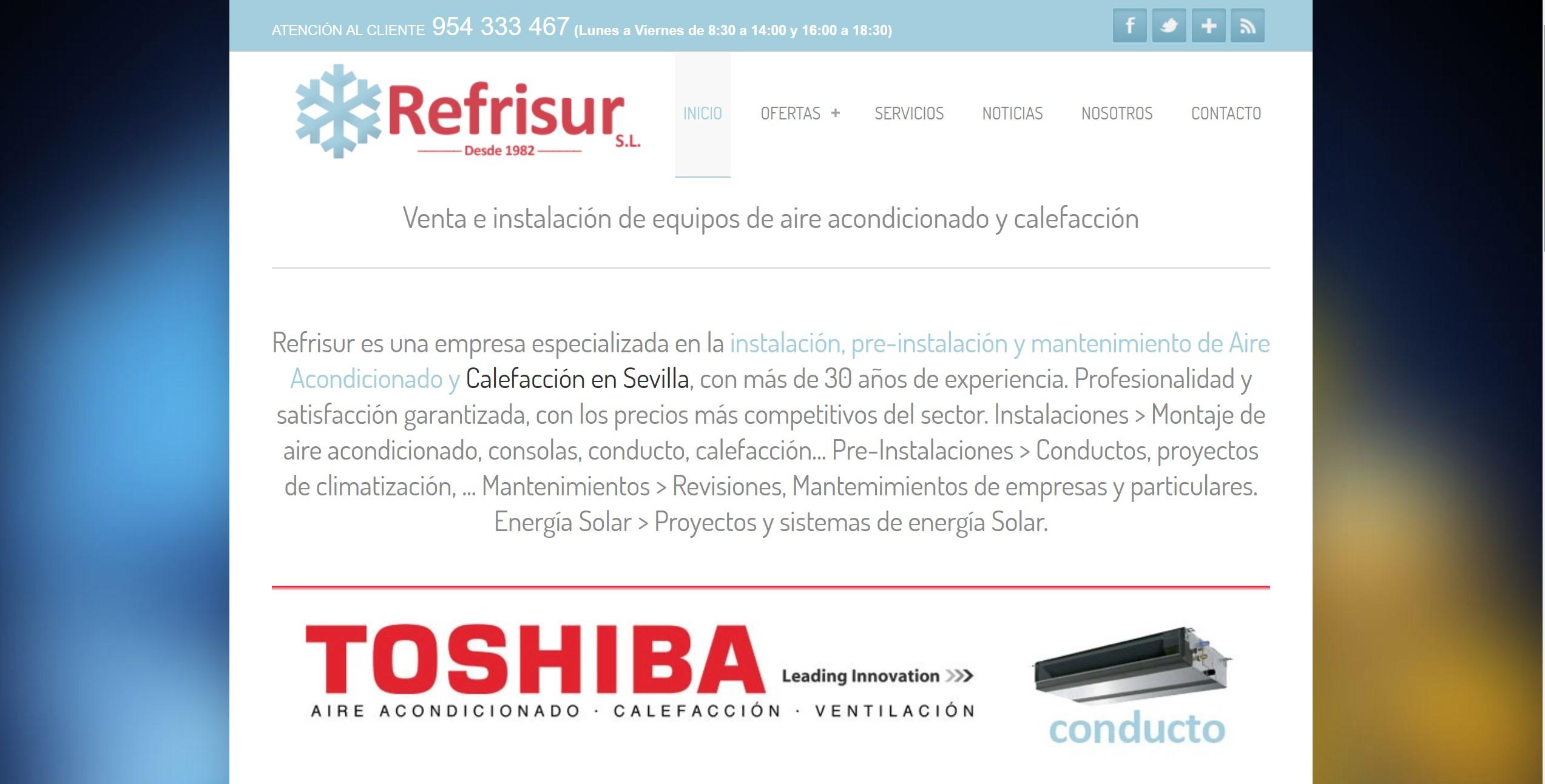 Diseño de página web: Refrisur