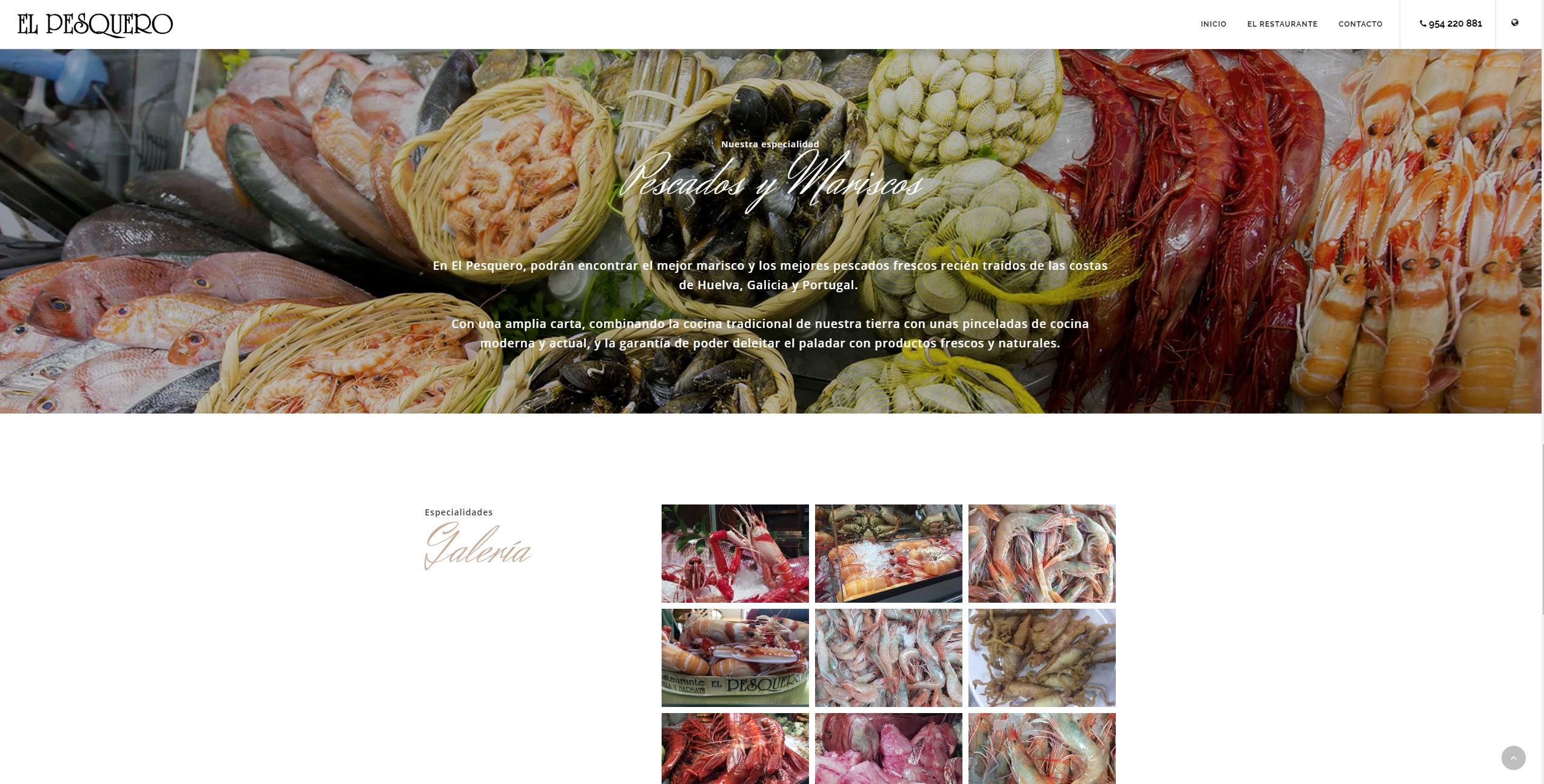 Diseño de página web: Restaurante El Pesquero